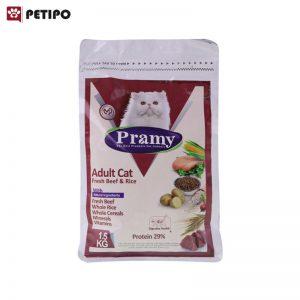 غذای خشک گربه بزرگسال طعم بیف پرامی وزن ۱.۵ کیلوگرم