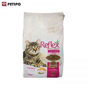 غذای خشک گربه بالغ رفلکس با طعم مرغ وزن 1.5 کیلوگرم